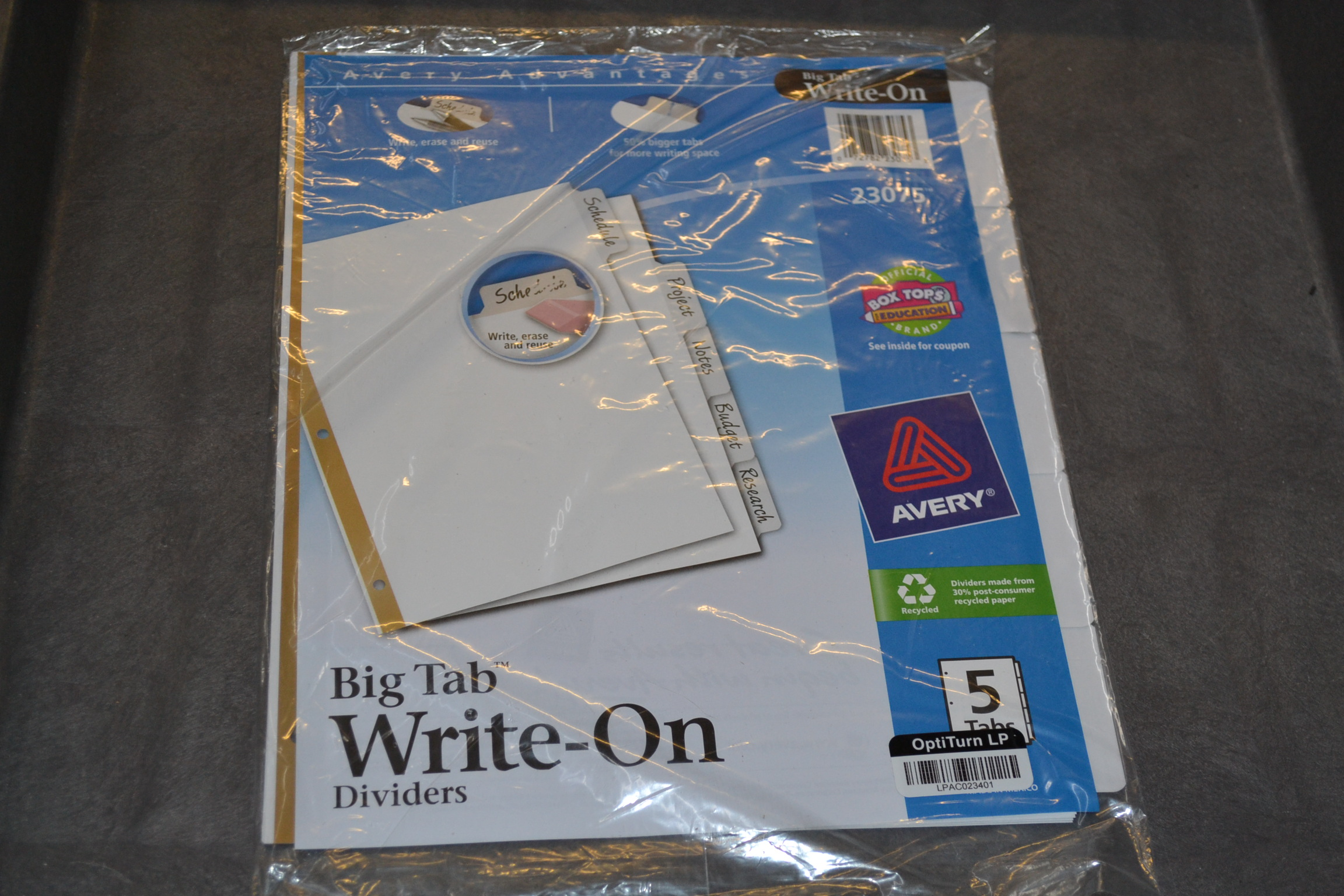 Avery Big Tab Write-On Dividers 5-TABS White 1 Set 23075 Clear Index
