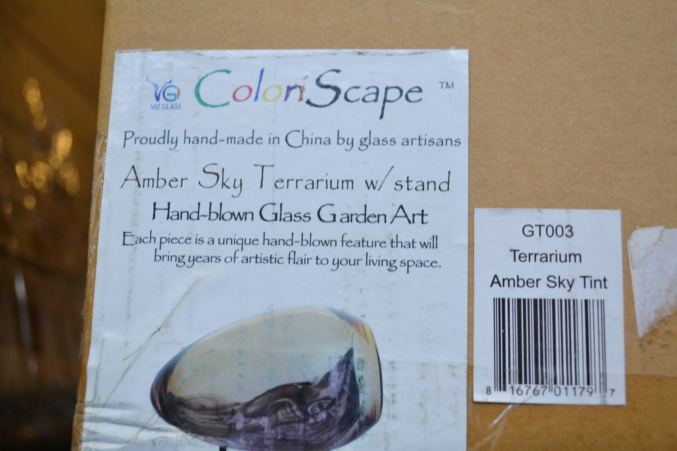 Coloriscape Terrarium Sky Tint With Stand Yard Art Amber