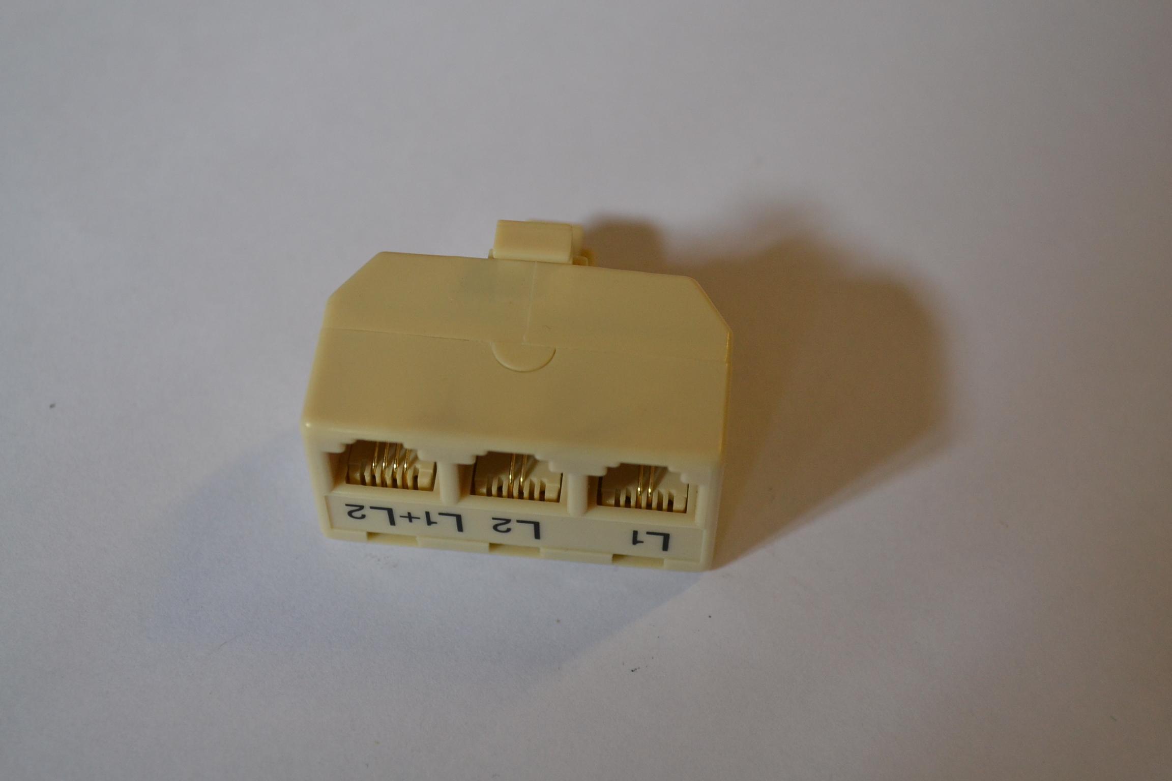 3 Way Plastic Modular Adaptor L1 L2 L1-2 Telephone