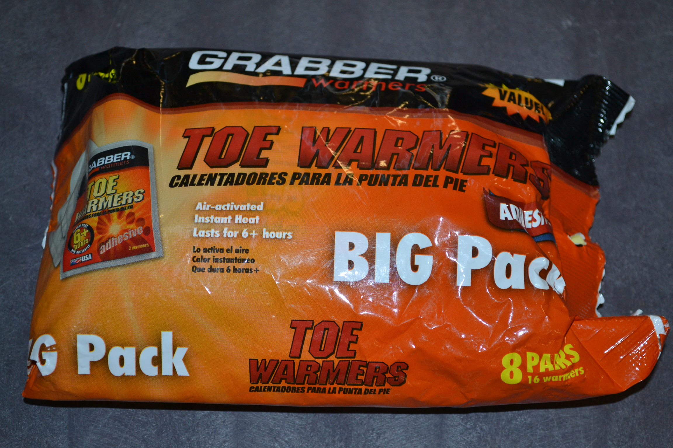 Grabber Toe Warmers For 6 Plus Hours 8 Pair Made In USA
